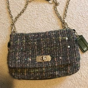 Super cute green tweed Coach purse